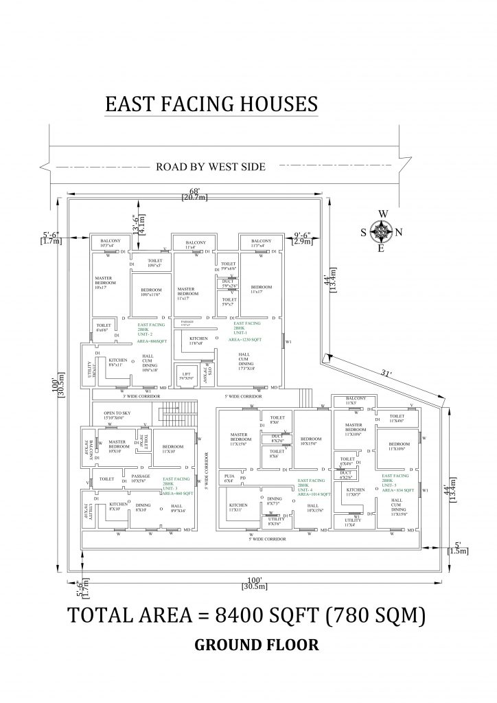 100'X100' Amazing 2bhk east facing Apartment House Plan