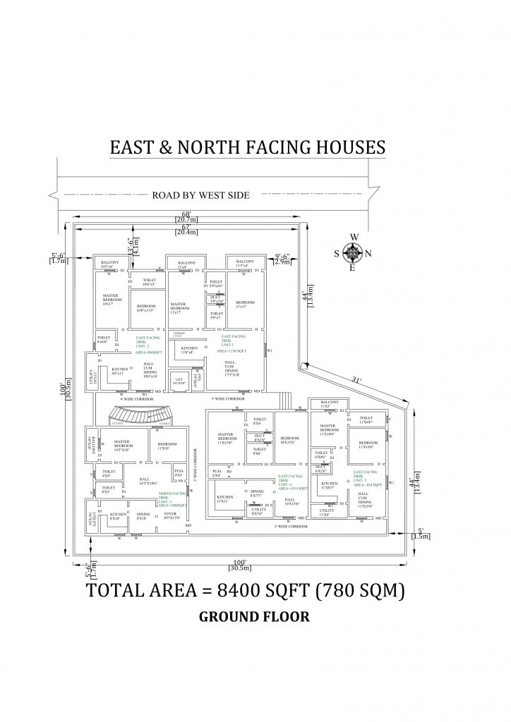 100'X100' The Perfect 2bhk East and north facing Apartment House Plan