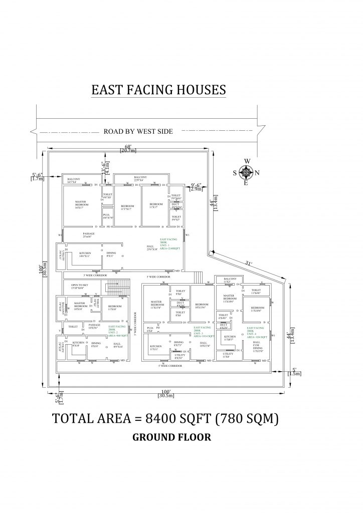 100'X100' wonderful 2 and 3bhk east facing Apartment House Plan