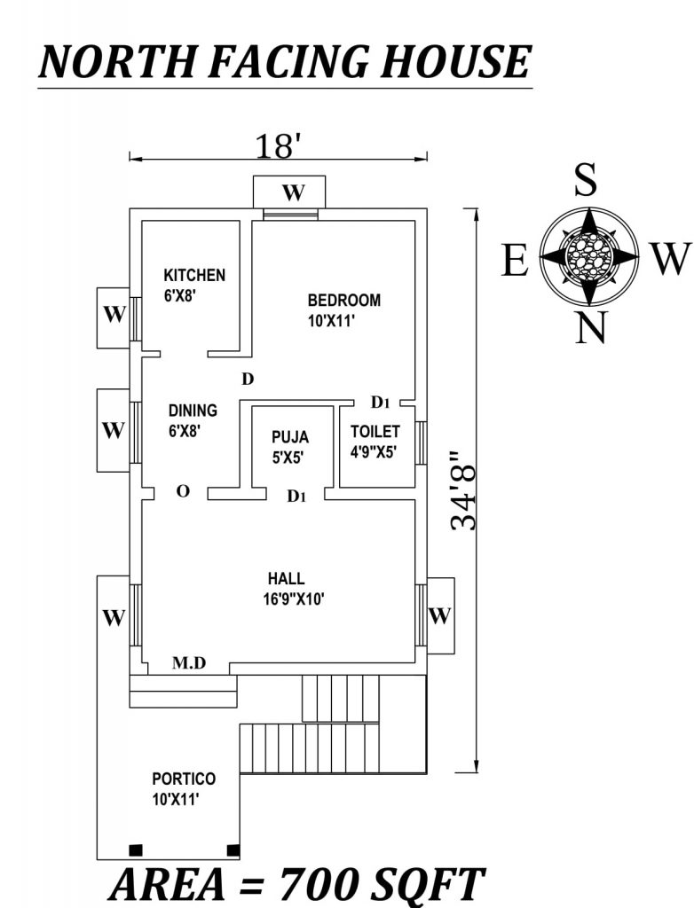 "18' X 34'8"" Single BHK North facing small House Plan"