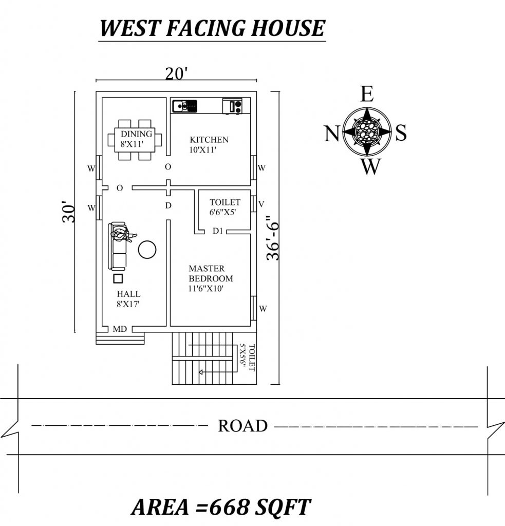 20'X30' Single bhk West facing House Plan