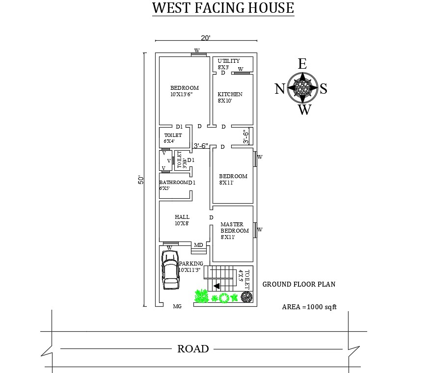 20'X50' Splendid 3 BHK West Facing House Plan