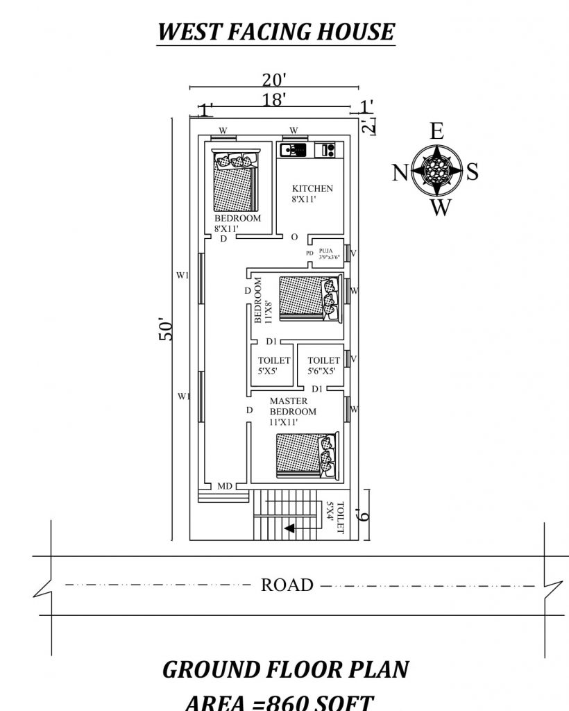20'x50' Awesome fully furnished 3BHK West facing House Plan