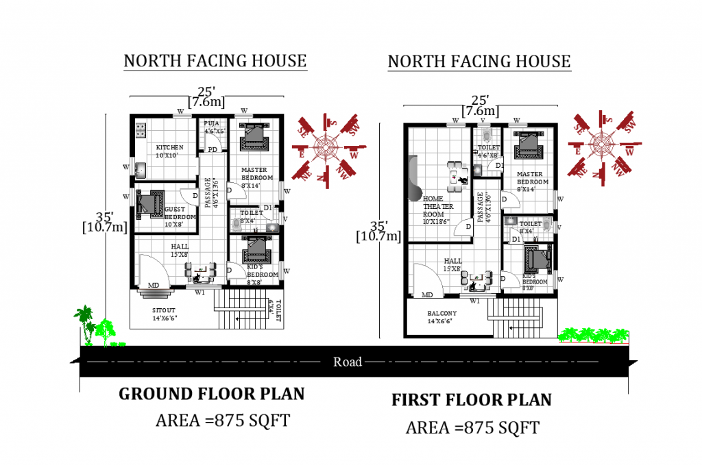 25'X35' Amazing north facing G+1 House Plan