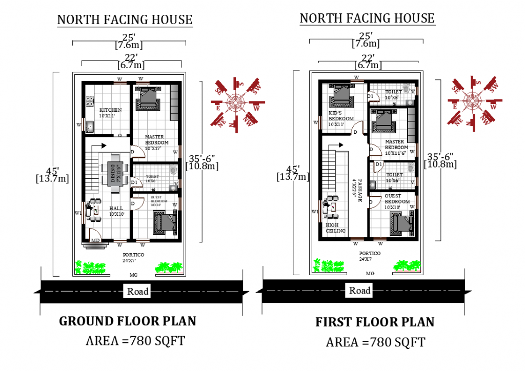25'X45' 2bhk North facing Ground and First floor House Plan