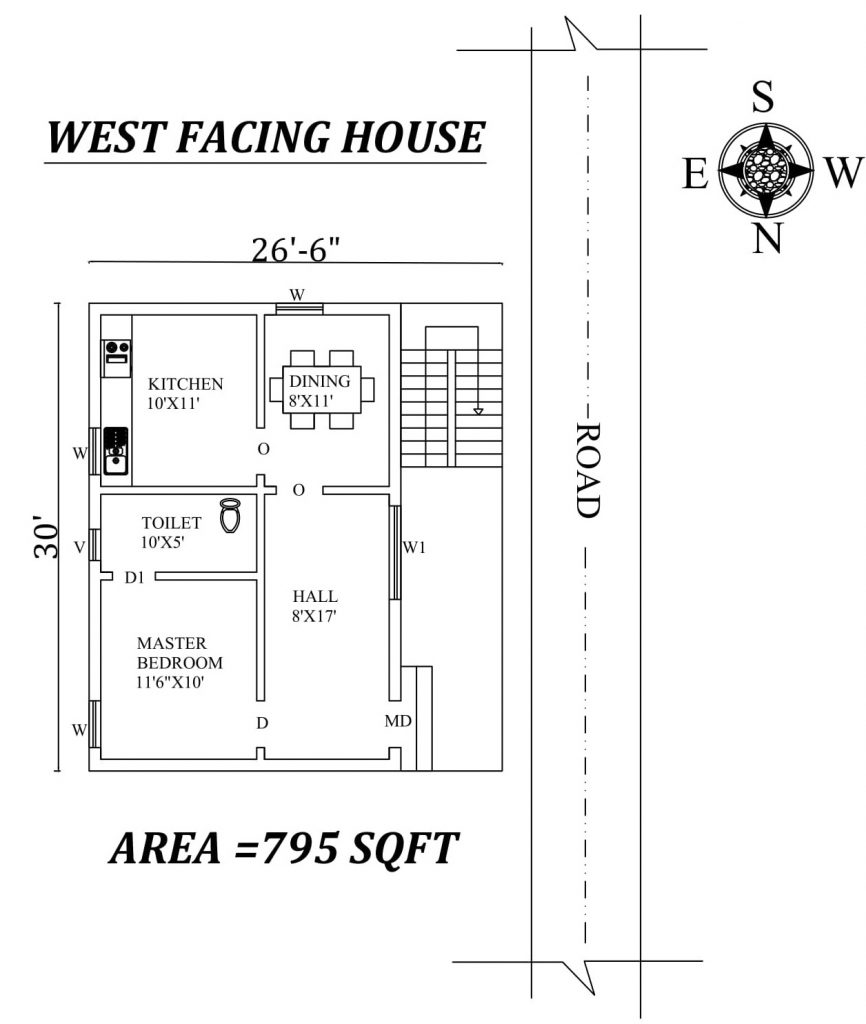 "26'6""x30' Single bhk West facing House Plan"