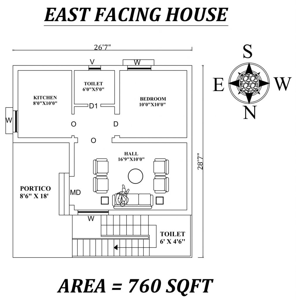 "26'7""x28'7"" Single bhk East facing House Plan"