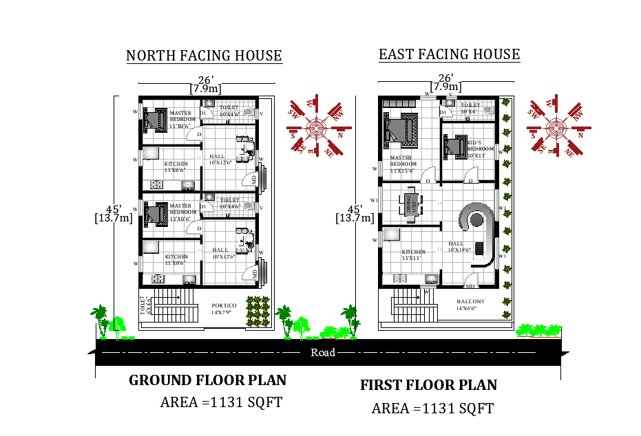 26'X45' Beautiful North and East facing G+1 House Plan
