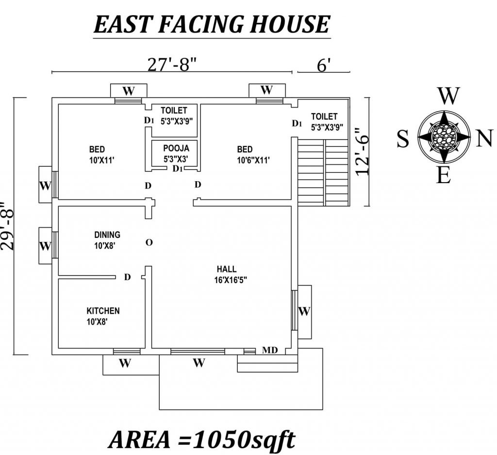 "27'8"" x29'8"" The Perfect 2bhk East facing House Plan"