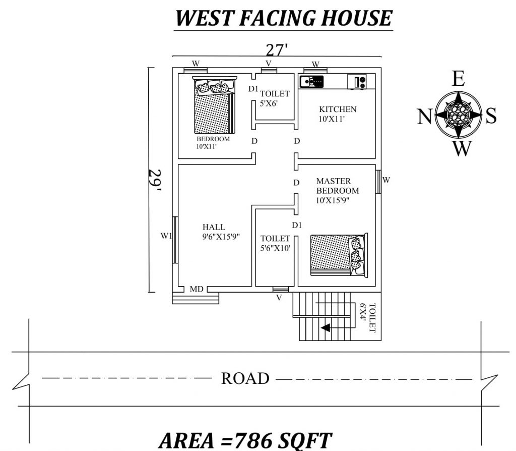 27'X29' Marvelous 2bhk West facing House Plan