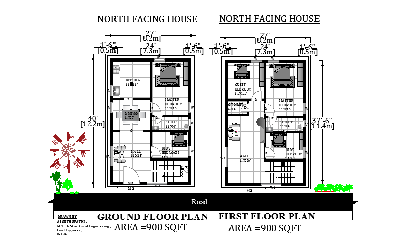 27'X40' Amazing north facing G+1 House Plan