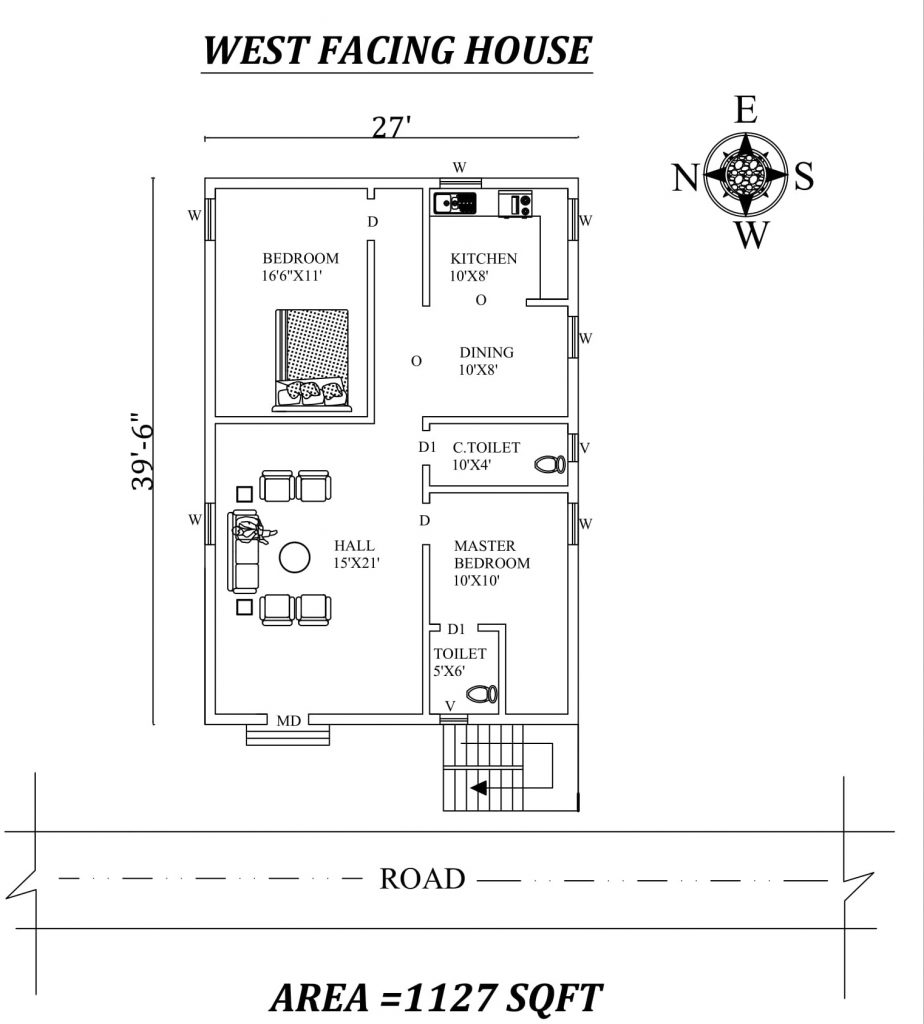 "27'x39'6"" The best west facing 2BHK House plan"