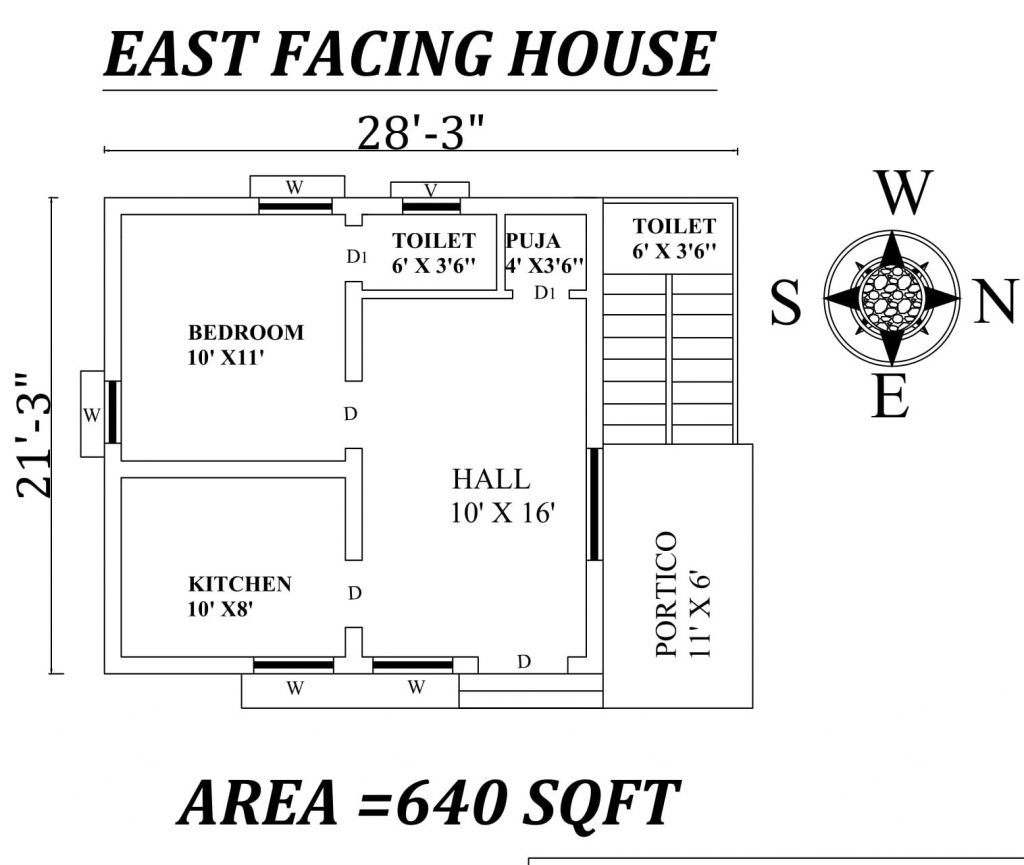 "28'3"" X21'3"" East Facing SIngle BHk House Plan"
