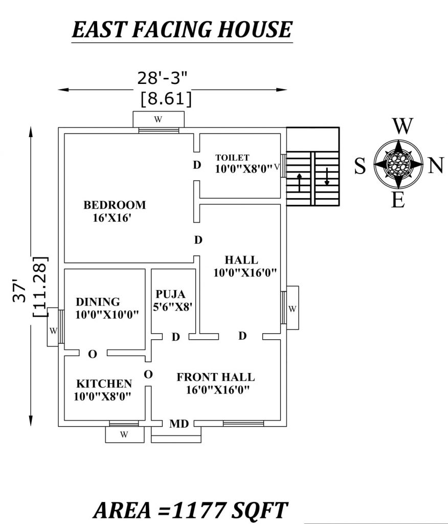"28'3""x37' Single bhk East facing House Plan"