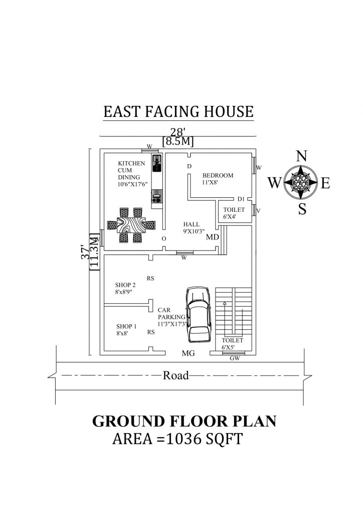 28'X37' Single bhk East facing House Plan