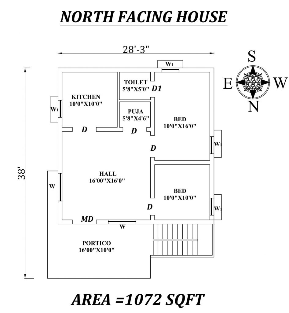 28'x38' Amazing North facing 2bhk house plan