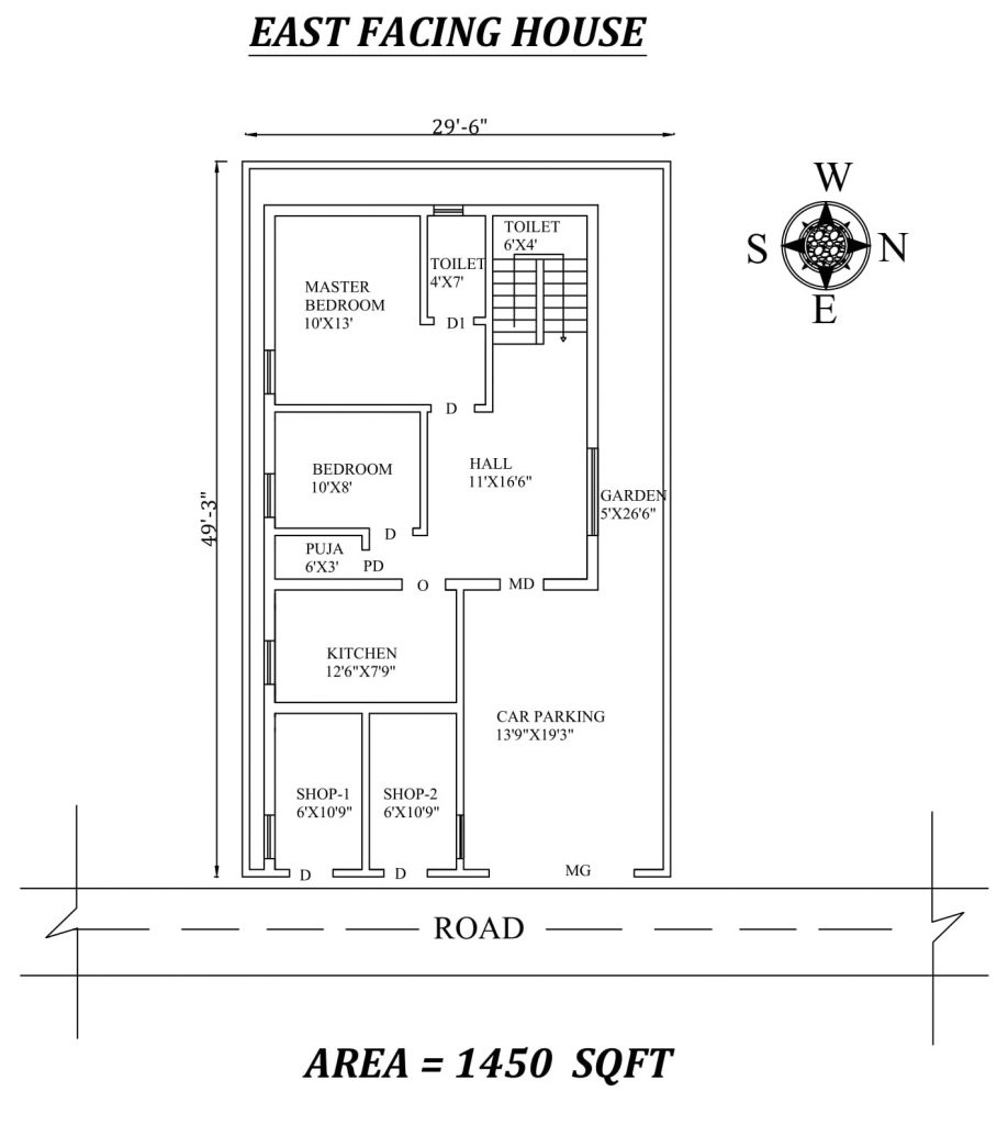 "29'6"" X49'3"" Superb 2bhk East facing House Plan"