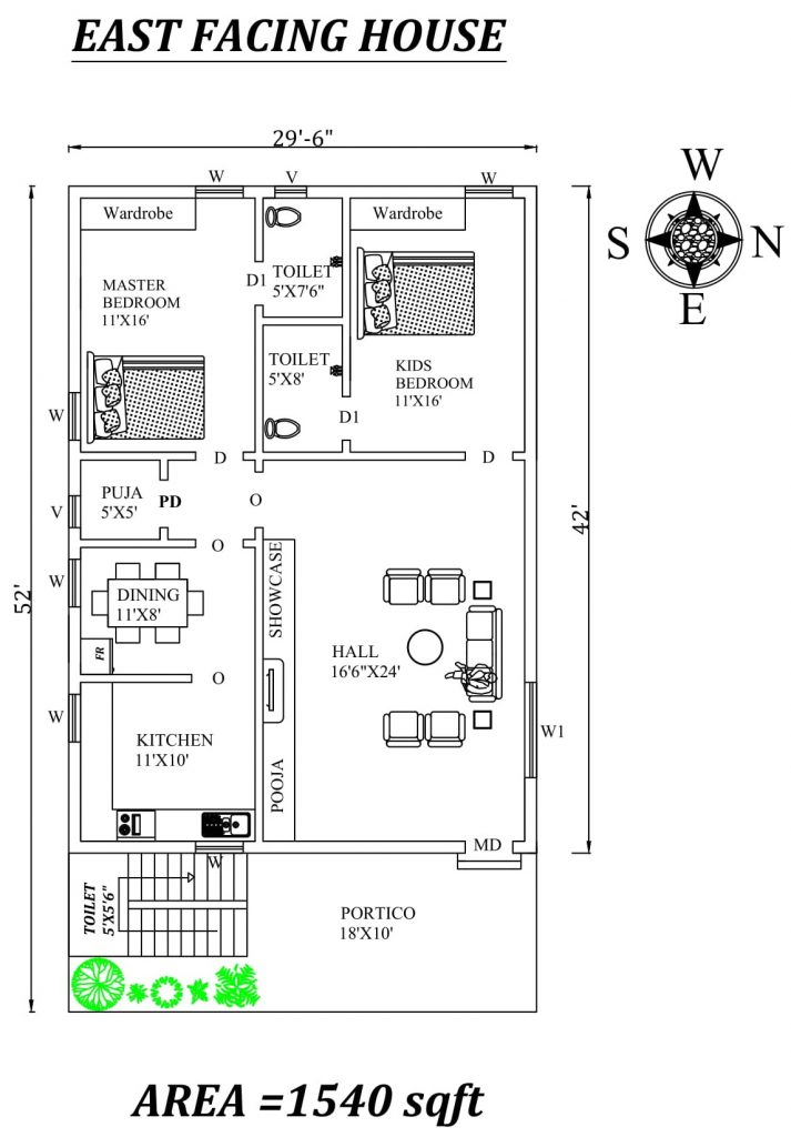 "29'6""X52' The Perfect 2bhk East facing House Plan"