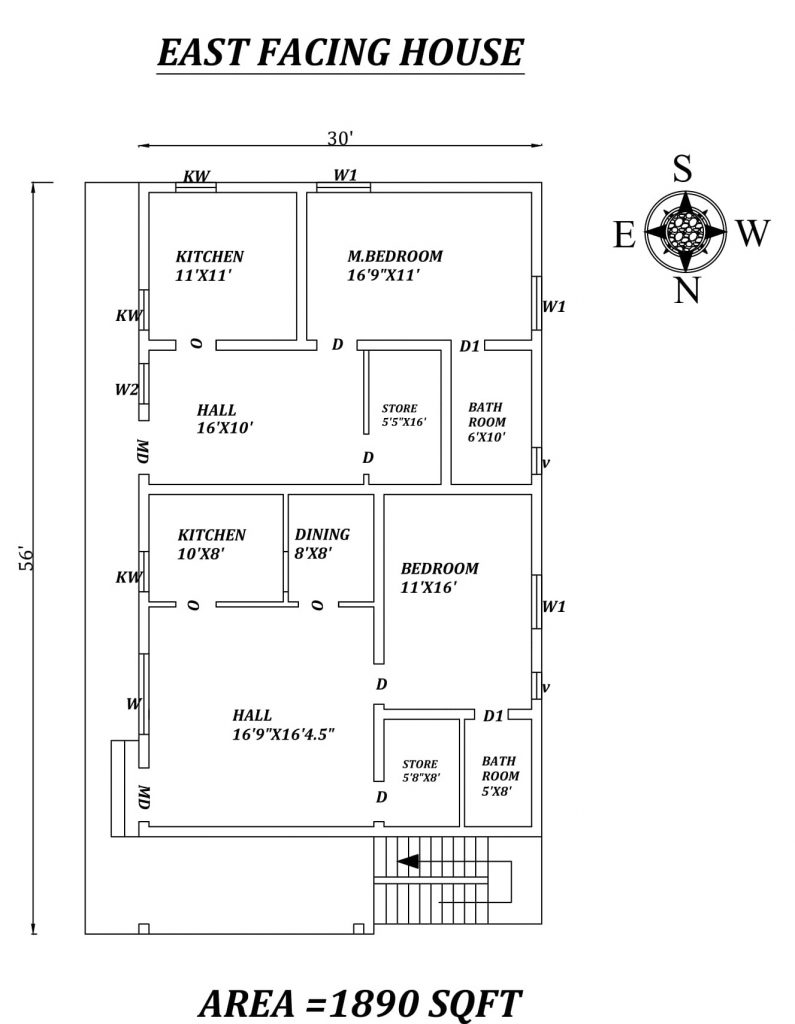 30'X56' Double Single bhk East facing House Plan