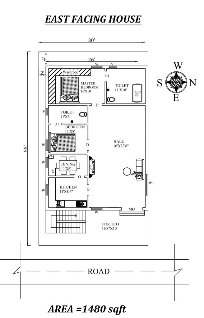 30'x55' 2BHK East Facing House Plan