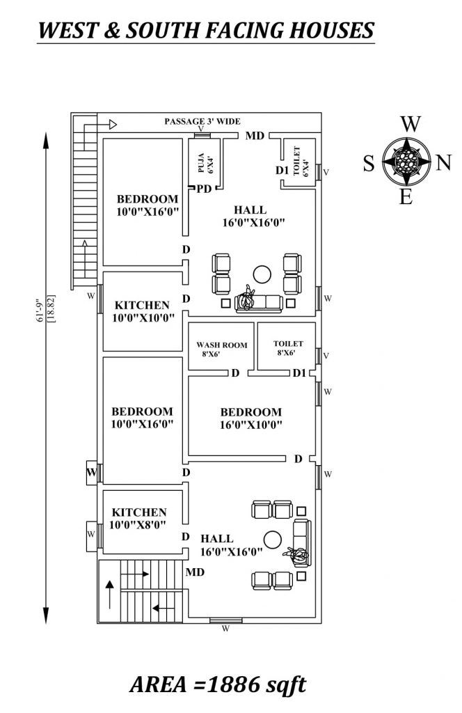 "31'X61'9"" 2bhk Awesome South facing House Plan"