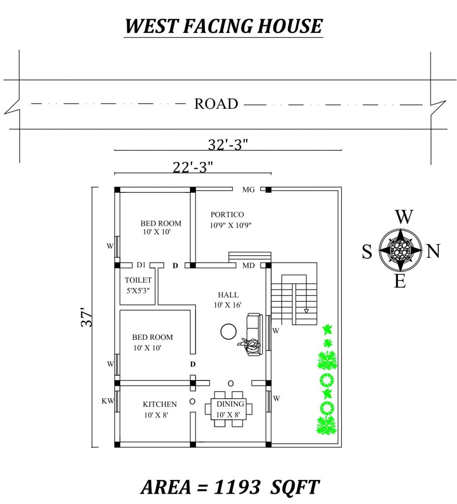 "32'3""X37'' Amazing 2bhk West facing House Plan"