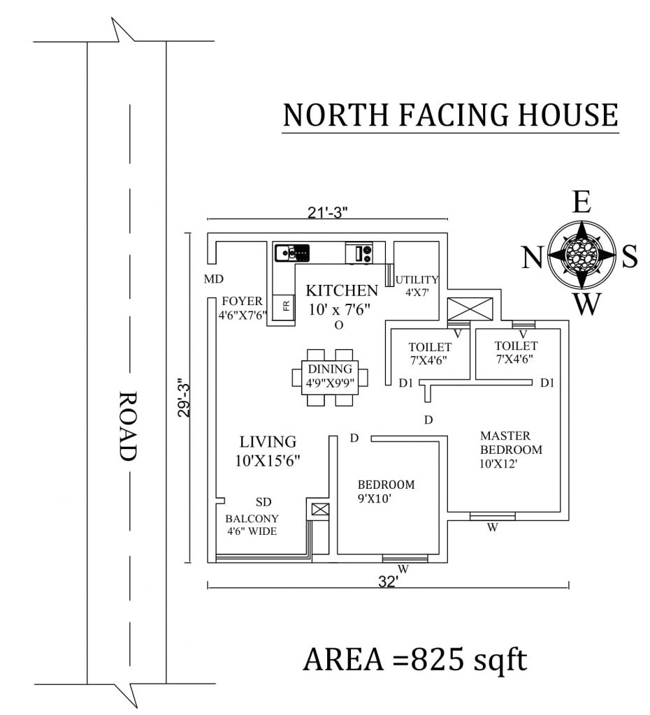 32'x29' Amazing North facing 2bhk house plan
