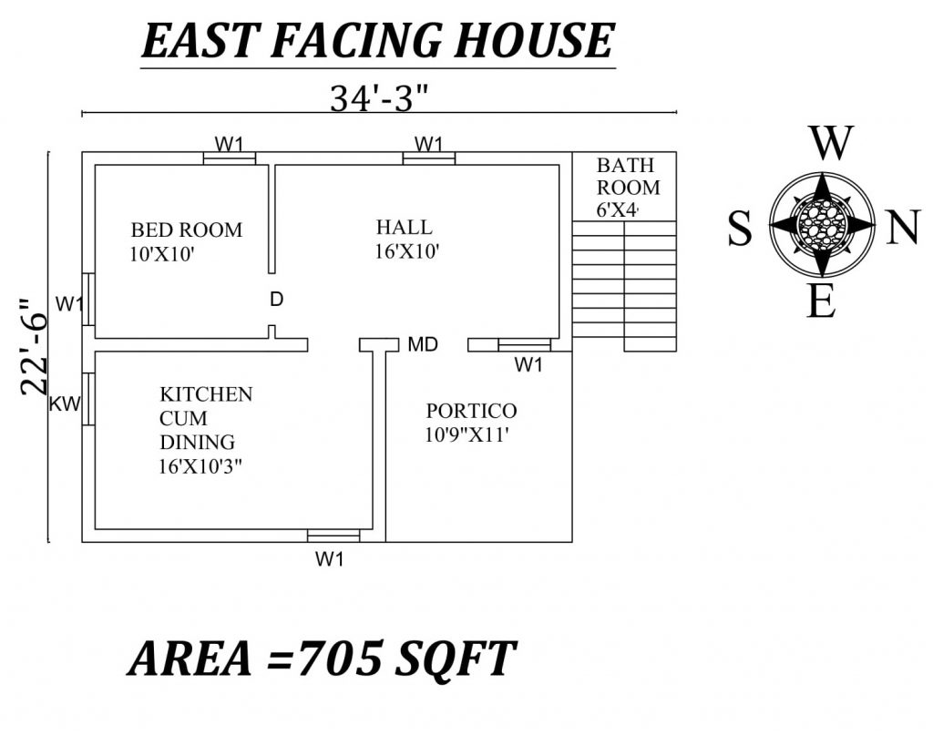 "34'3"" X22'6"" East Facing SIngle BHk House Plan"