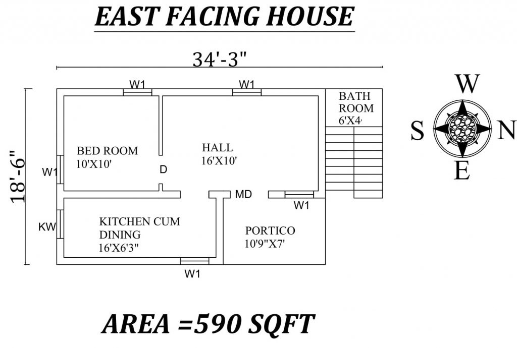 "34'3""x 18'6"" Single bhk East facing House Plan"