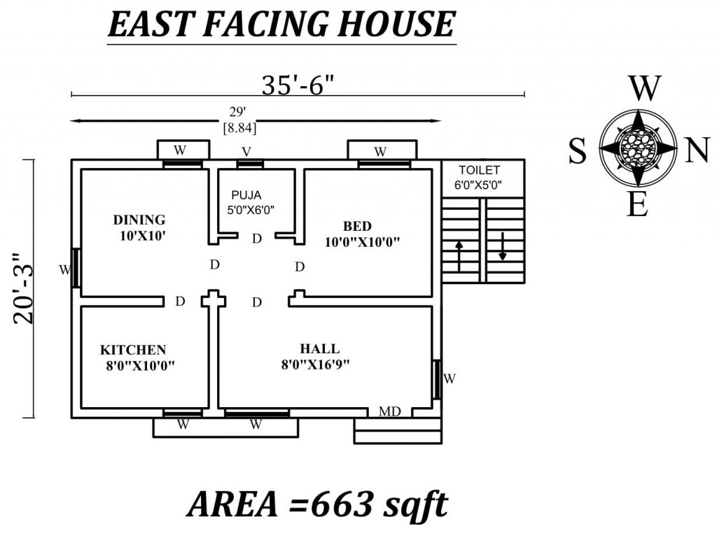 "35'6"" X20'3"" East Facing SIngle BHk House Plan"