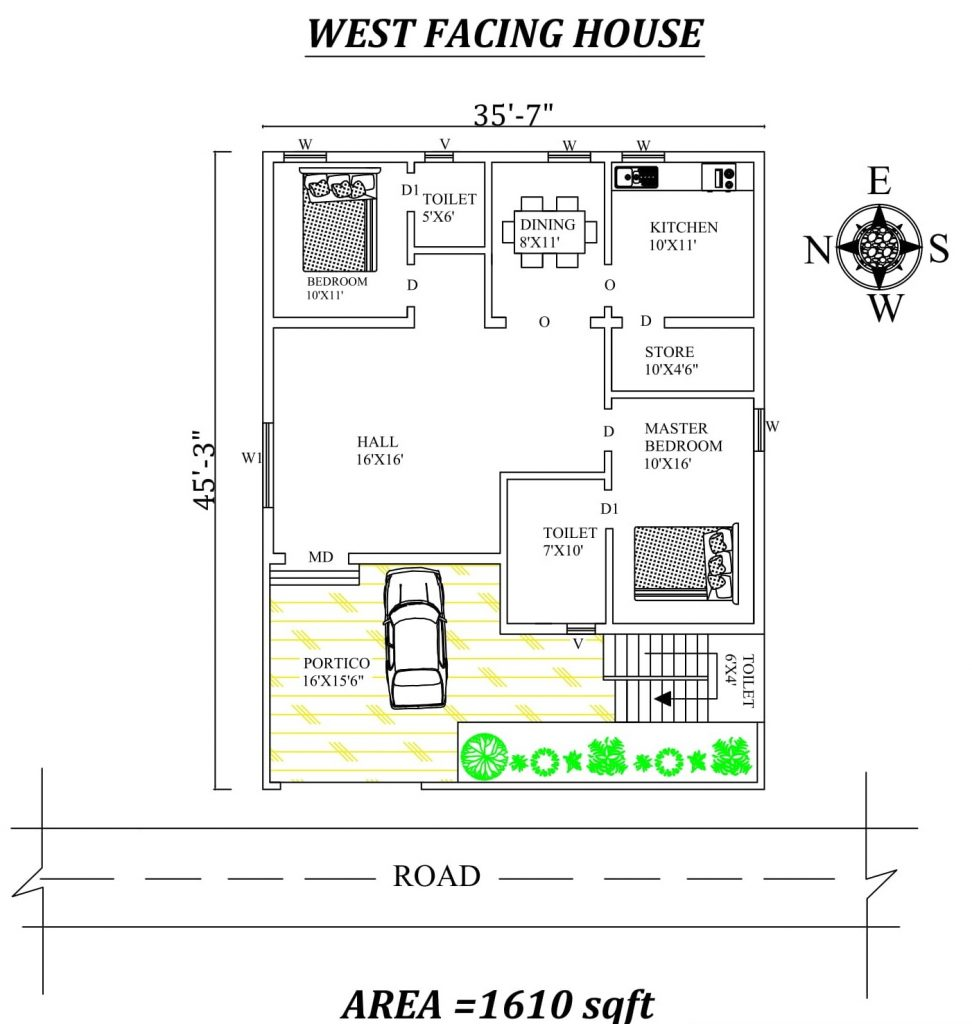 "35'6""x45' 2BHK west facing house plan"