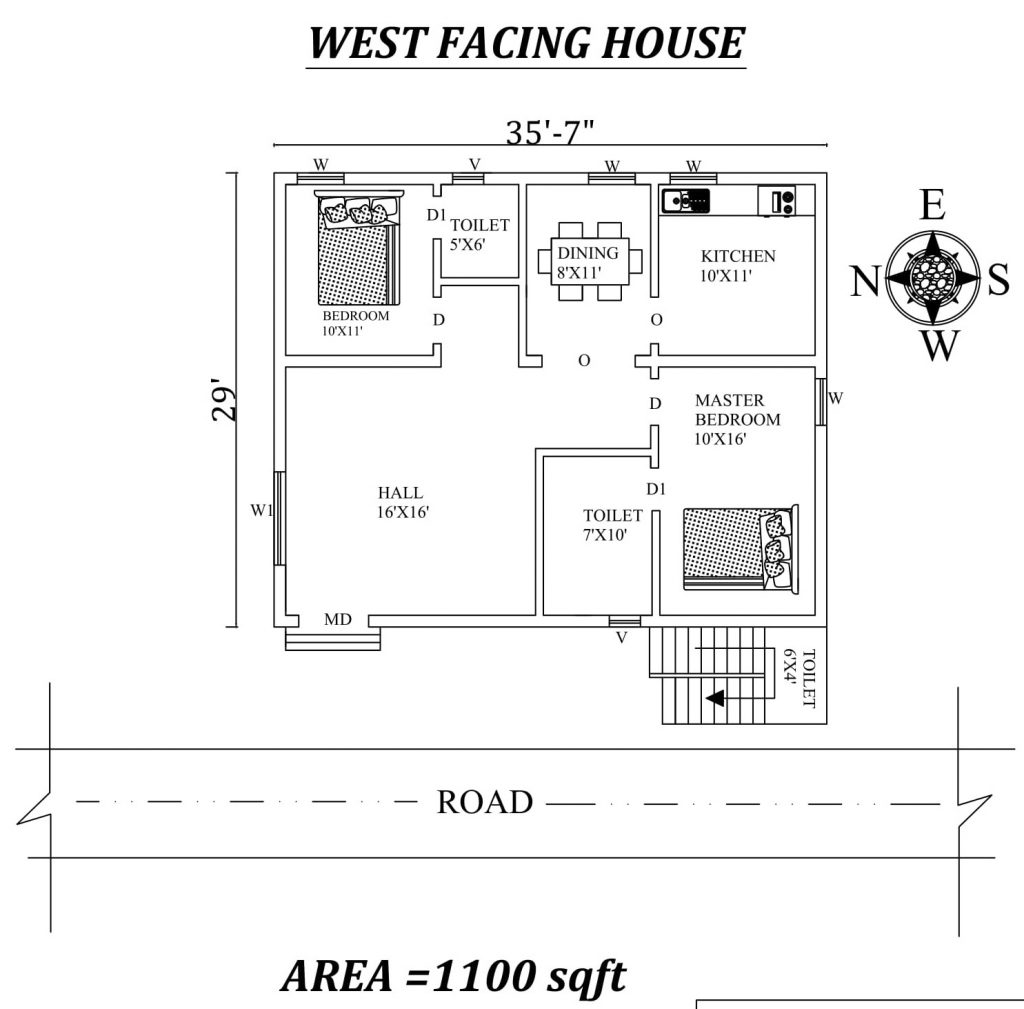 "35'7""x29' 2bhk west-facing House Plan"