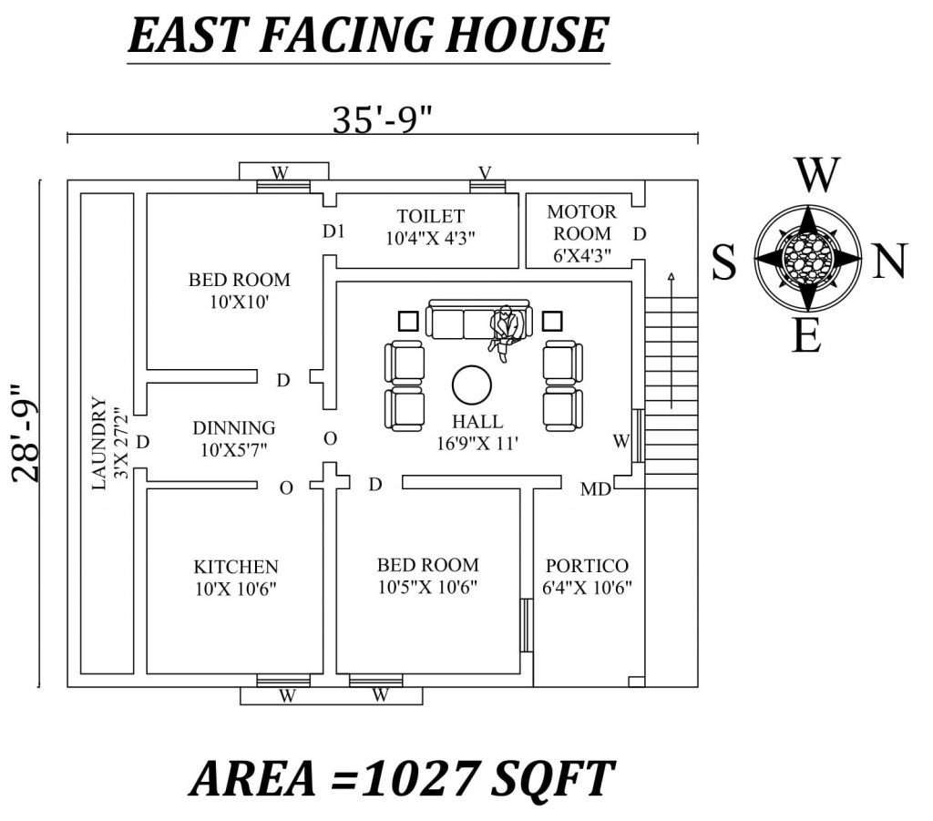 "35'9""X 28'9"" The Best 2bhk East facing House Plan"