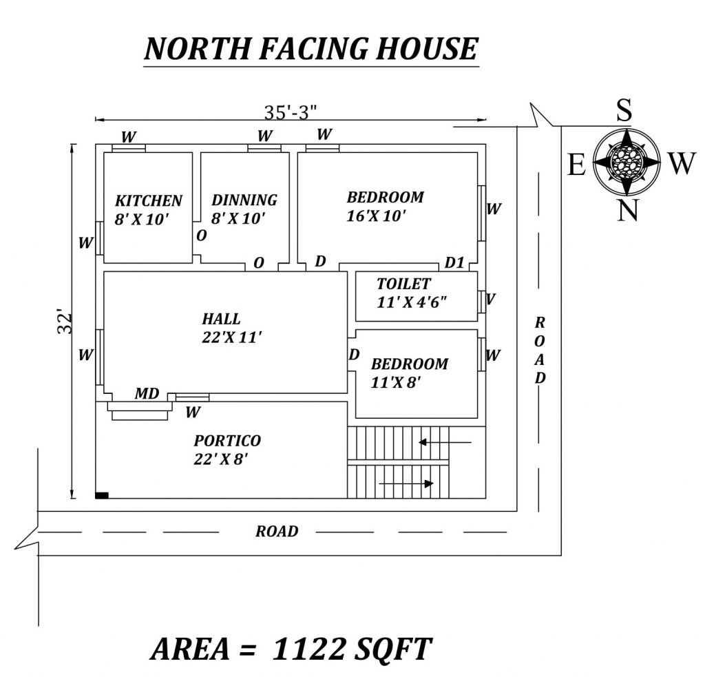 35'x32' Perfect 2BHK North Facing House Plan