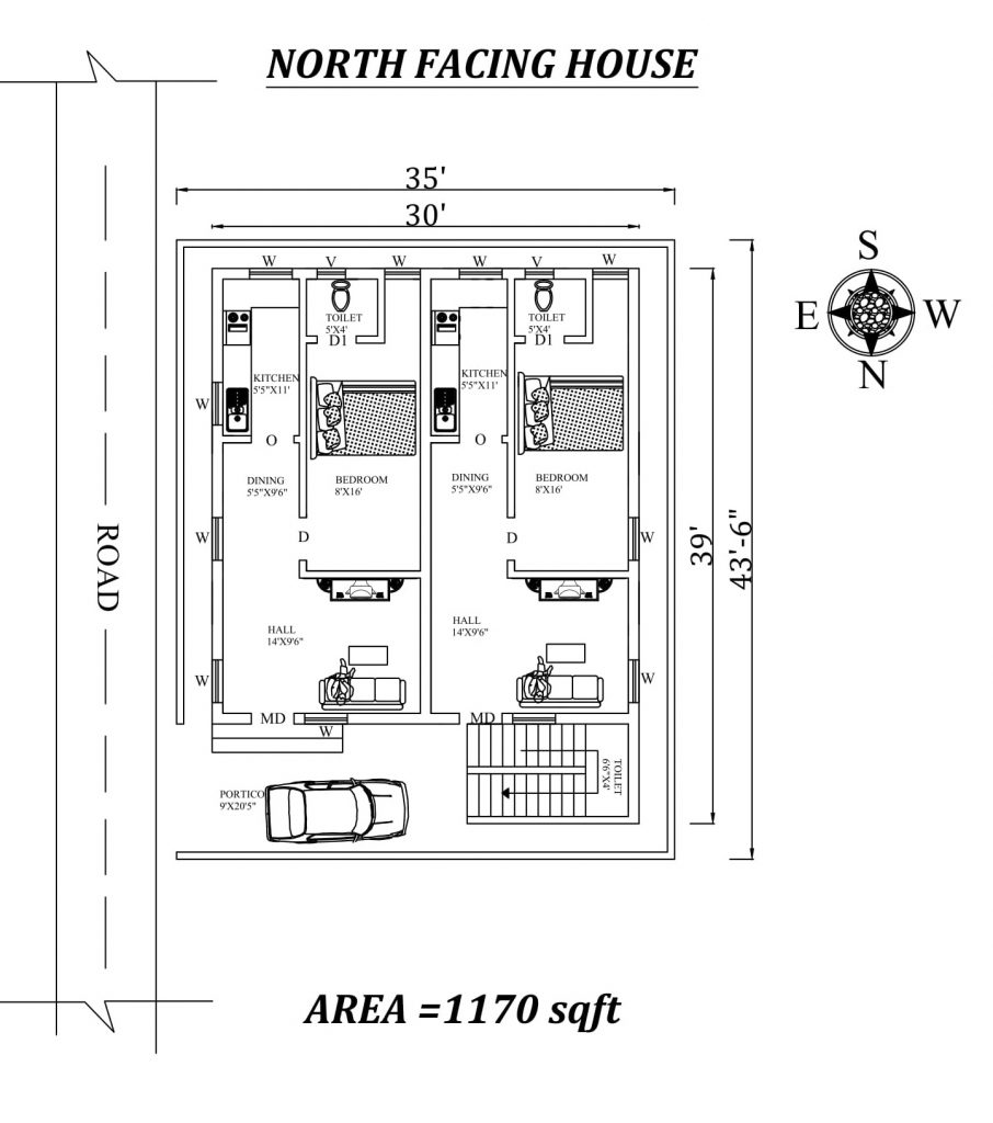 "35'x43'6"" Dual single BHK North Facing House Plan"