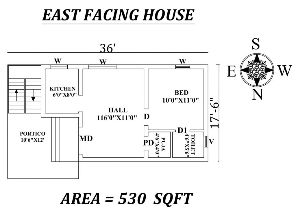 "36'X17'6"" East facing single bhk house plan"