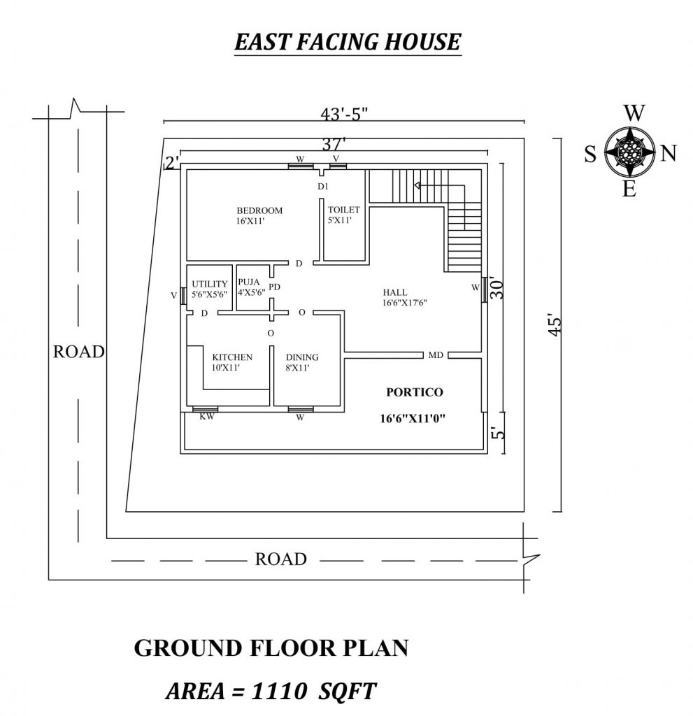 37'x30' Single bhk East facing House Plan
