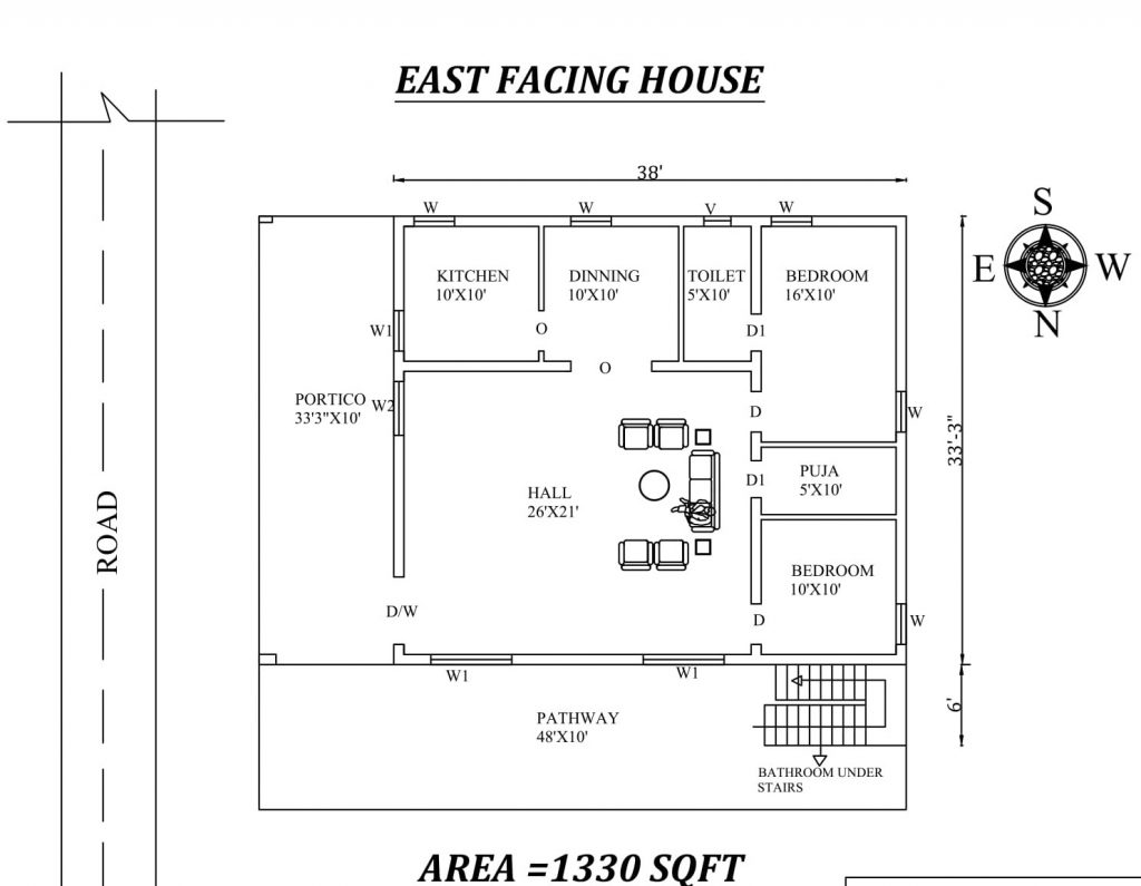 38'X39' The Perfect 2bhk East facing House Plan