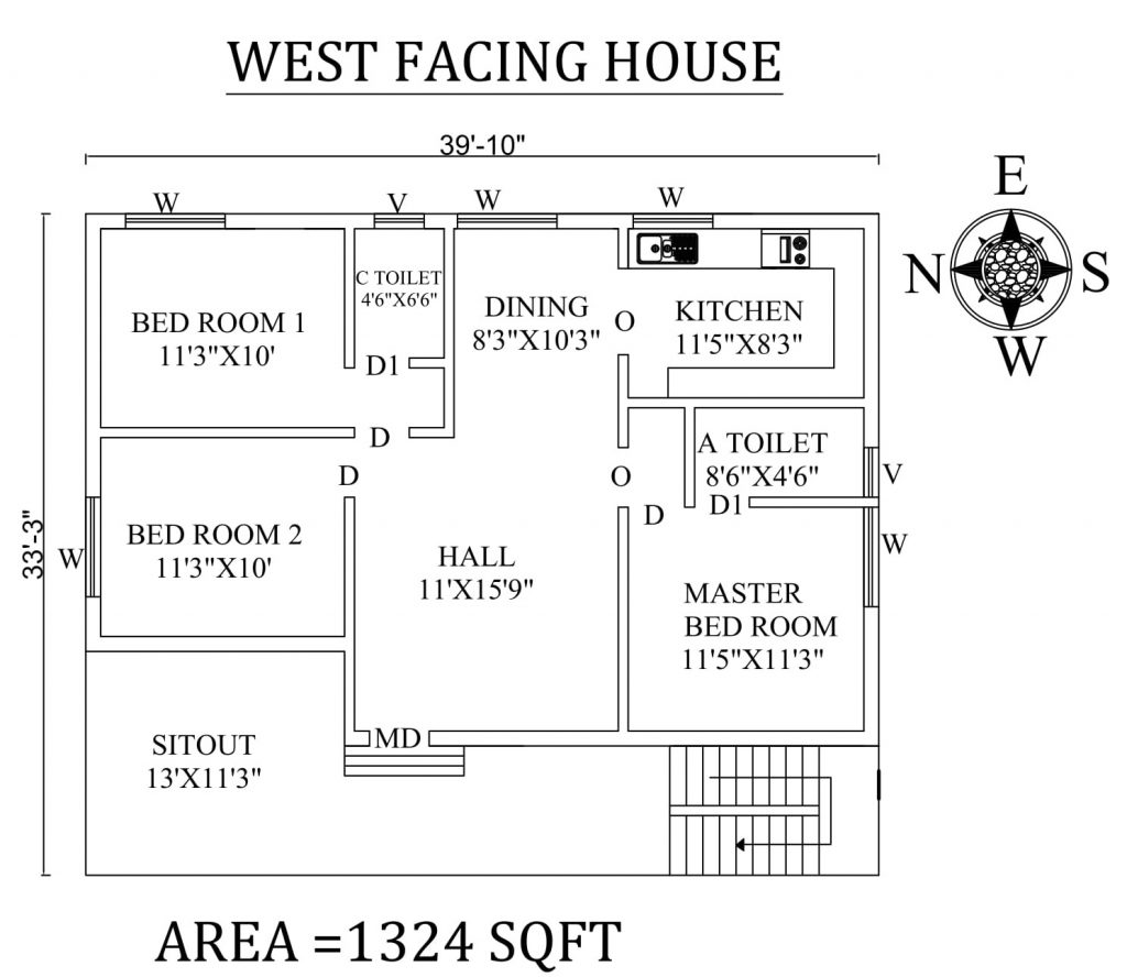 "39'10""x33'3"" Awesome 3bhk West facing House Plan"