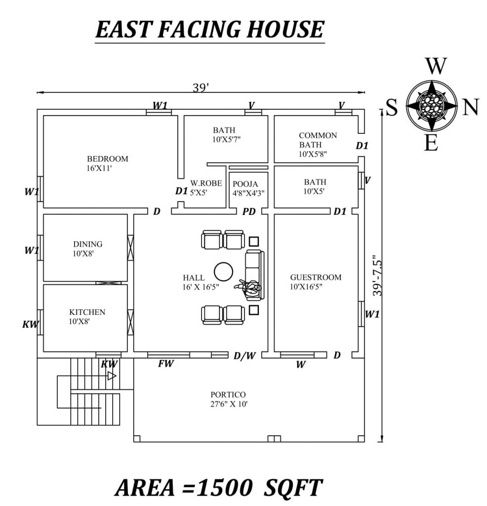 39'x39' 2bhk East facing House Plan