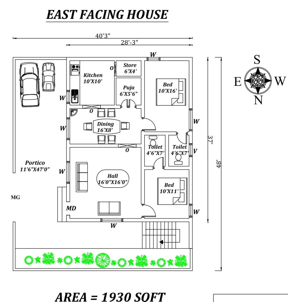 40'X48' Amazing 2bhk East facing House Plan