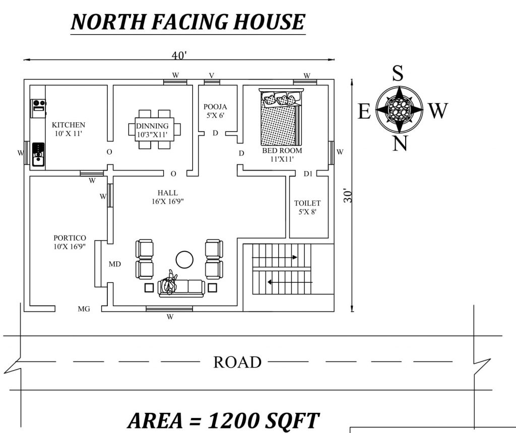 40'x30' Amazing single bhk North facing House Plan