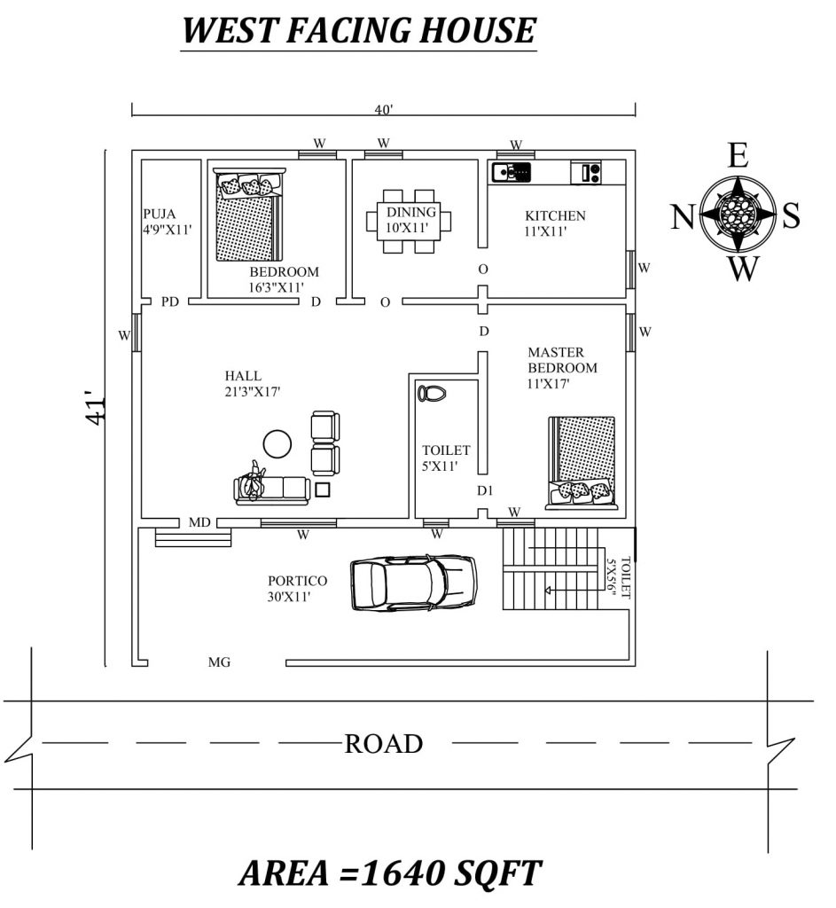 40'x41' West Facing 2BHK Furnished House Plan