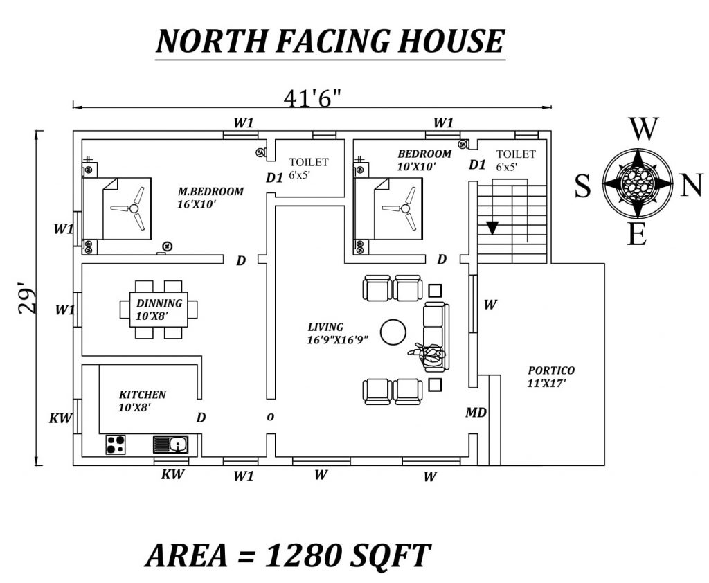 "41'6""x29' 2bhk North-facing House Plan"