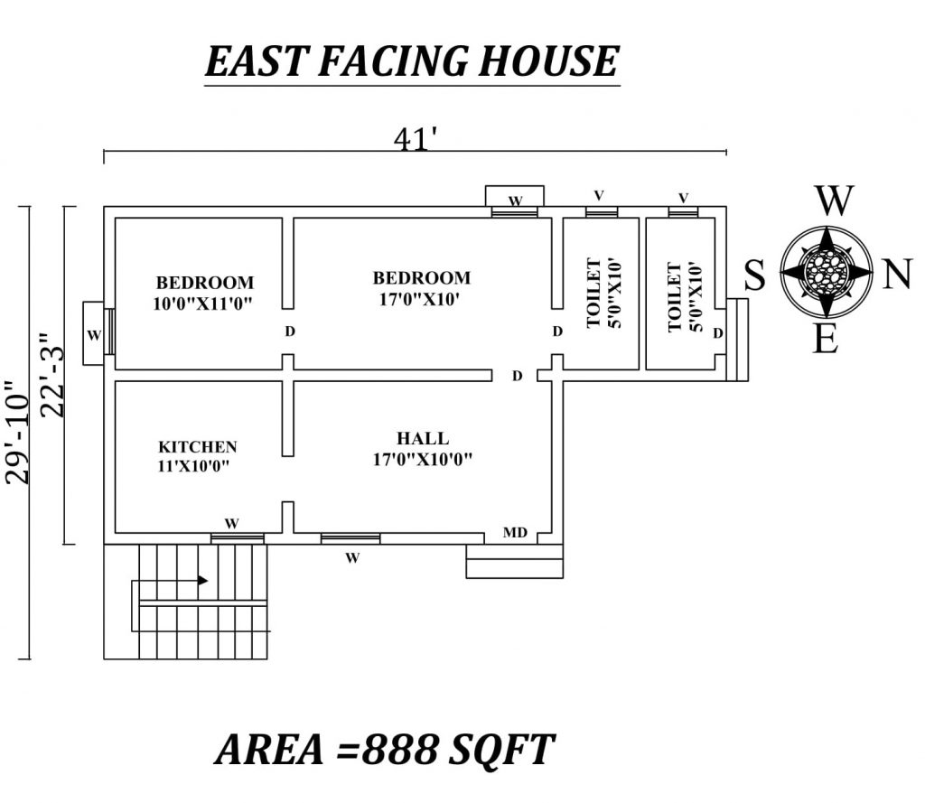 "41'X29'10"" two bhk East facing House Plan"