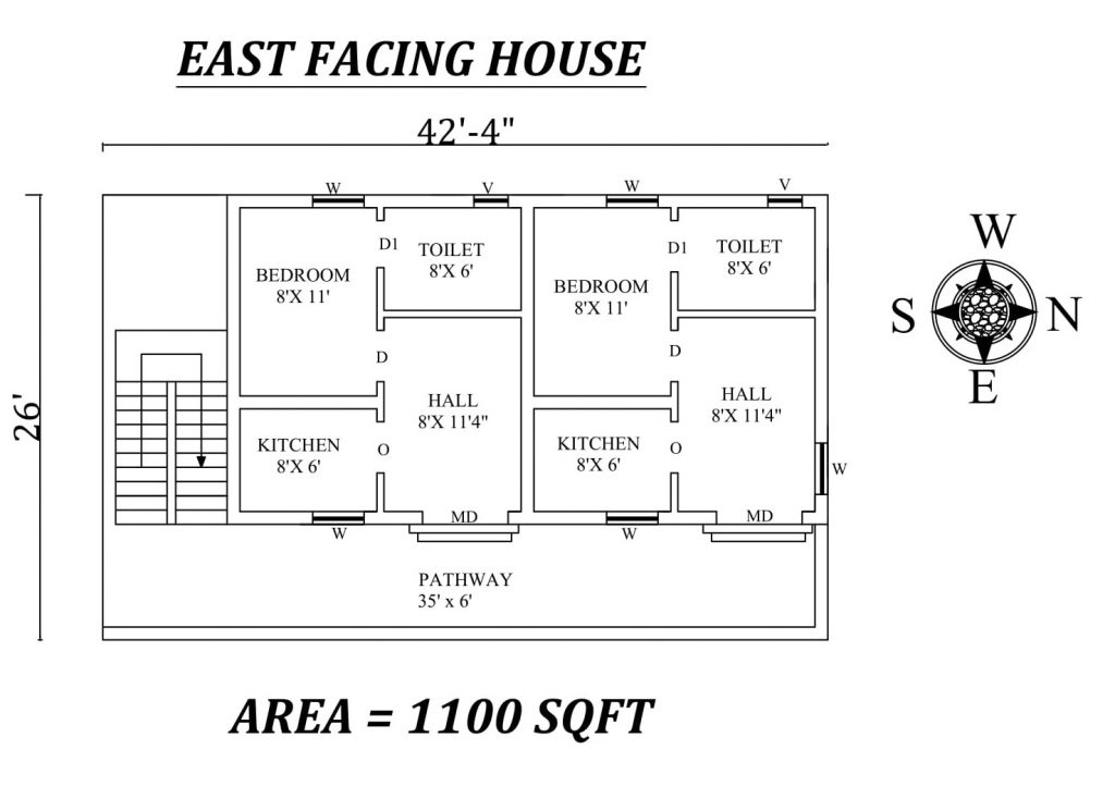 "42'4""x 26' Single bhk East facing Dual House Plan"