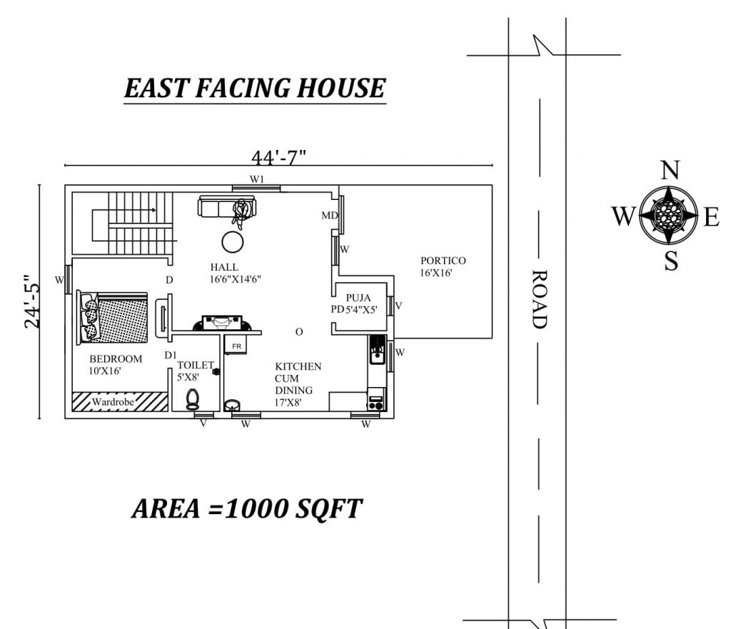 "44'7""x 24'5"" Single bhk East facing small House Plan"
