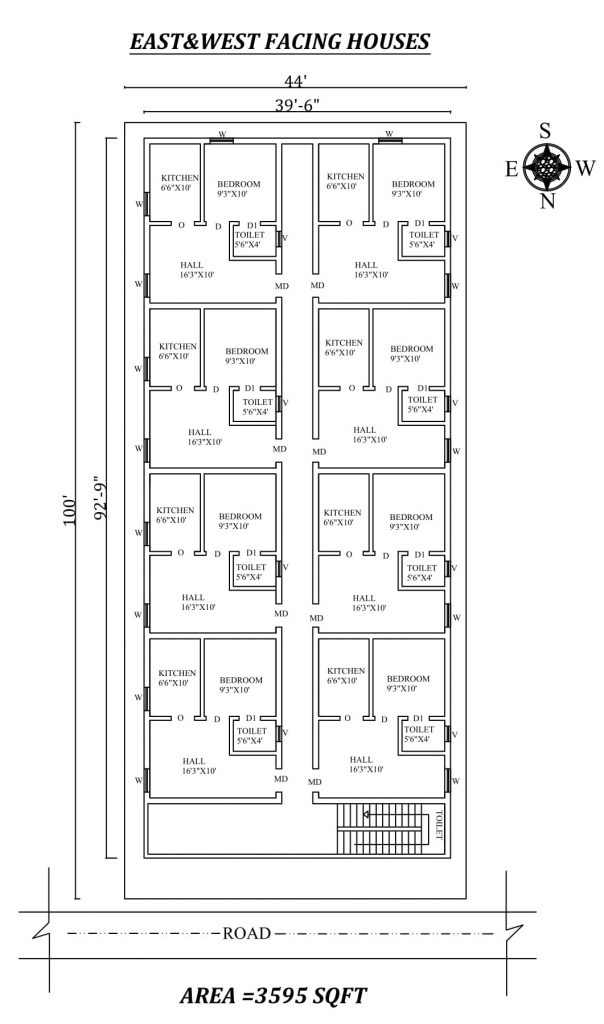 44'X100' Single bhk East and west-facing row complex House Plan
