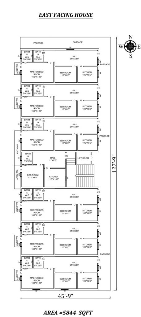 "45'X127'9"" The Perfect 2bhk East facing Apartment House Plan"