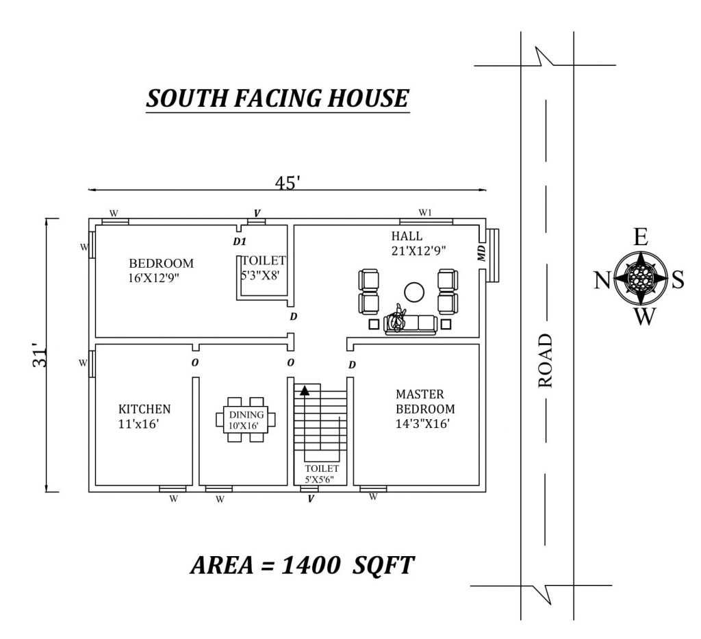 45'x31' South Facing 2BHK House plan